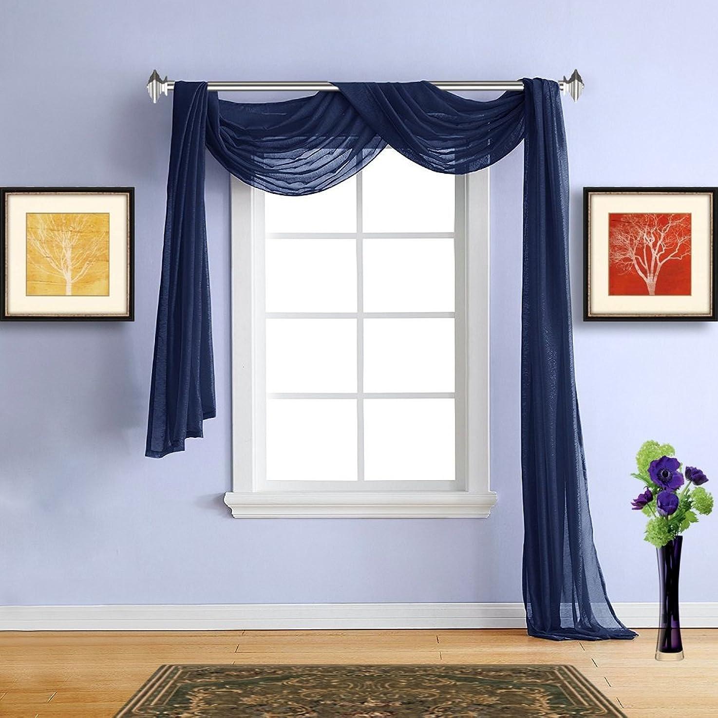 小麦粉不定立ち寄るWarm Home Designs ボイルパネルカーテン 2枚組 標準サイズ 54インチ(幅) x 84インチ(長さ) 薄手のウィンドウカーテン2枚のエレガントなボイルパネルカーテン。合計108インチの幅?–?KARINA。 1 Extra Long Scarf: 54