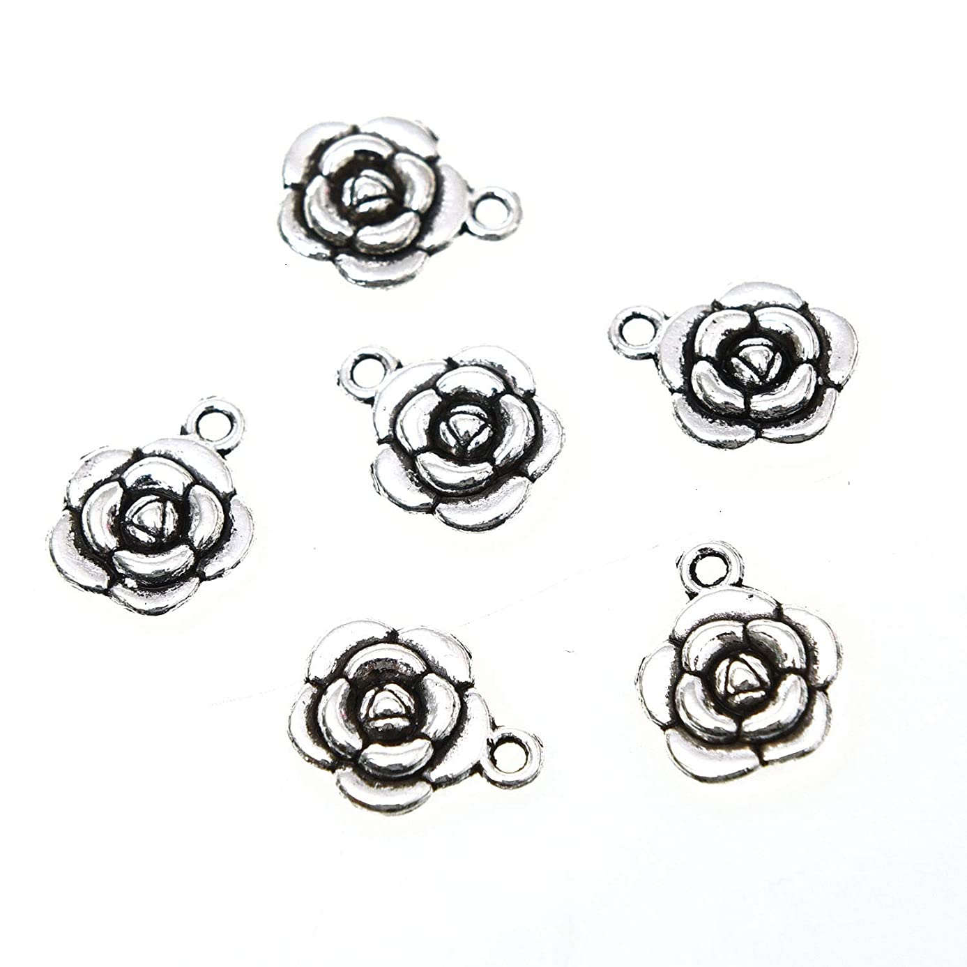 Monrocco 80pcs Antique Silver Alloy Flower Charms Pendant Jewelry Findings for DIY Jewelry Making Necklace Bracelet