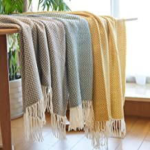 Throw Blankets with Tassel Sofa Beds Cover Modern Multifunctional Soft Travel Airplane Portable Blankets Shawl Scarf Chris...