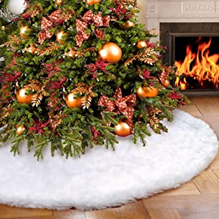 White Faux Fur Christmas Tree Skirt 48 Inches Luxury Snowy Soft Xmas Tree Skirts for Christmas Decorations Xmas Holiday Decor New Year Party Supplies