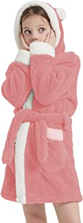 CASODA Girls Robe Homewear Kids Hooded Bathrobes Plush Sherpa Sleepwear- Gifts for Girls(9-10 Years, Pink)