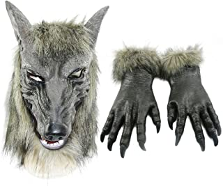 Halloween Werewolf Costume Wolf Claws Gloves and Head Mask