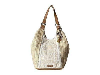 Sakroots Roma Straw Shopper (White Tribal Beauti) Handbags