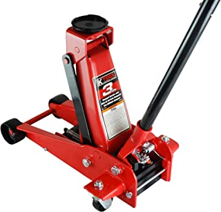 K Tool International 3 Ton Floor Jack Compact Service Jack Wide Lifting Range Jacks Cars and Truck, Swivel Rear Casters, H...