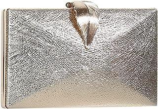 Generic Damen Kunstleder Glänzende Abendtasche Leaf Lock Clutch Bankett Umhängetasche Gold