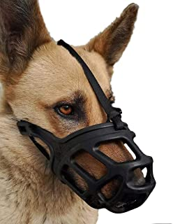 Rvpaws Adjustable Dog Muzzle Cum Mouth Cover-Dogs for Great Dane/St Bernard/Rottweiler (Medium, Black)
