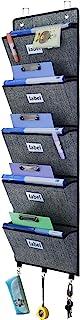 homyfort Organizador de Pared Colgante de 5 Bolsillos, Premium Organizador de Carpetas para Colgar Archivos, almacenaje de Suministros de Oficina, 3 Ganchos adicionales Debajo, Negro Lino, XAZ05C
