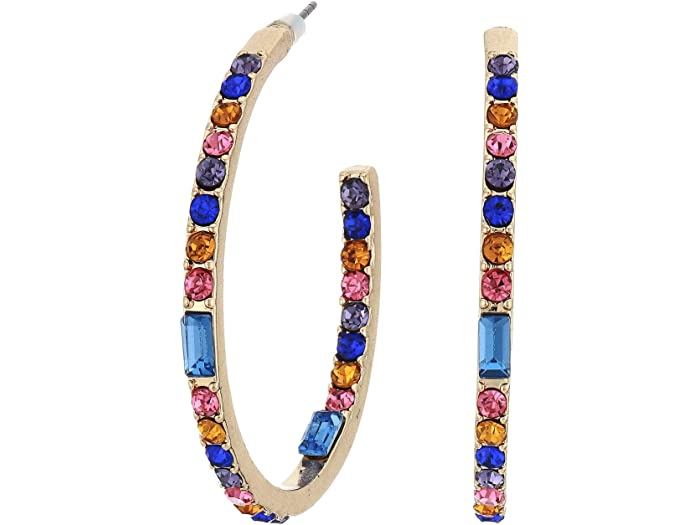 GUESS Multicolored Stone Inside Out Hoop Earrings