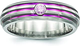 Titanium Trpl Groove Pink Anodized and Pink Sapphire Engagement Ring Ideal Gifts For Women