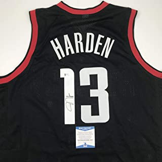 Autographed/Signed James Harden Houston Black Basketball Jersey Beckett BAS COA