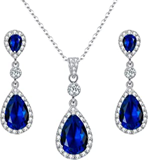 5746f6a9d EleQueen 925 Sterling Silver Full Cubic Zirconia Teardrop Bridal Pendant  Necklace Dangle Earrings Set