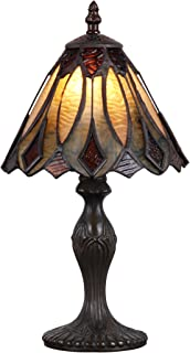 Tiffany Style Banker Table Lamp Stained Glass Mini Small Accent Decorative Antique Lighting Coffee Desk Bedroom Living Room Bedside Reading Night Light Cream Black Brown Colored 14 X 8 inch Brass
