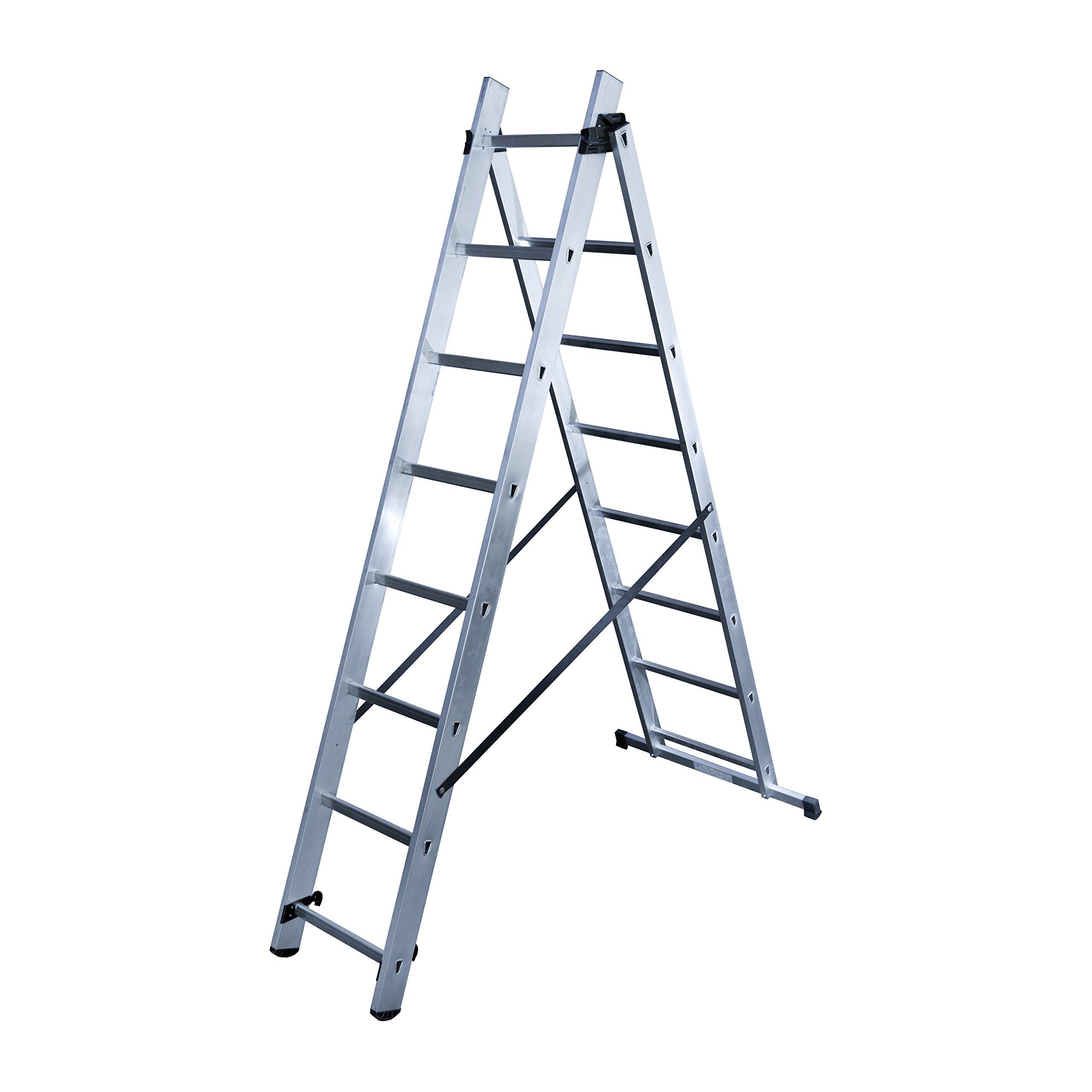 Hailo 1416 – 501 – Escalera (aluminio 2 tramos 8 peldaños: Amazon.es: Bricolaje y herramientas