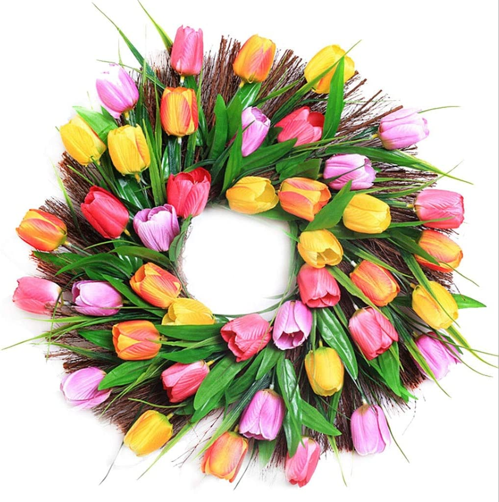 whl Hanging Wreath Flower Spring Super beauty product restock quality top Spring new work one after another Tulip D Artificial Front