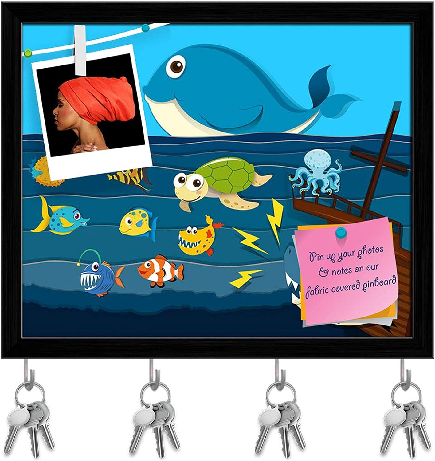 Artzfolio Ocean Scene with Sea Animals Key Holder Hooks   Notice Pin Board   Black Frame 19.7 X 16Inch