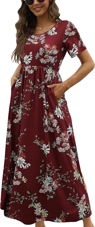 CHERFLY Women's Summer Maxi Dress Short Sleeve Casual Long Dress with Pockets