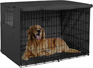 Explore Land 42 inches Dog Crate Cover Durable Polyester Pet Kennel Cover Universal Fit for Wire Dog Crate (Black)