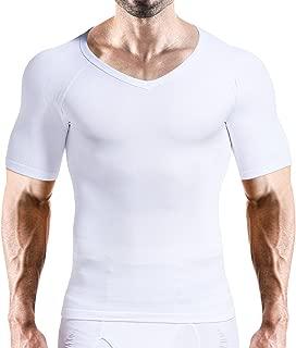 Hoter Mens Slim and Tight Super Soft Compression & Slimming Shaper V-Neck Compression Shirt, Mens, A1-White(Advanced), XX-Large
