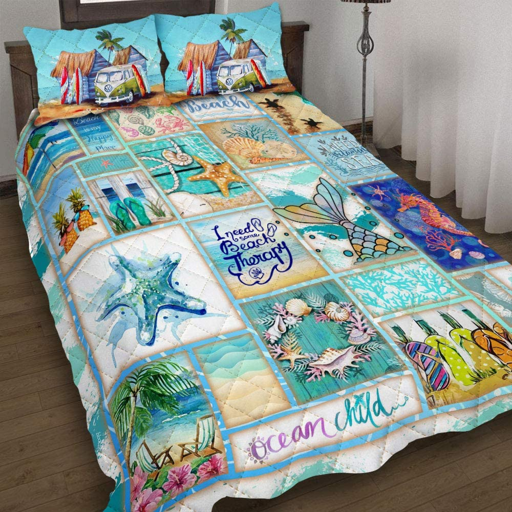 GEEMBI Quilt Bedding Los Angeles Mall Set-Beach Life King Direct stock discount Set Bed PS442QS