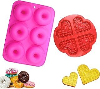 WELLXUNK Moule en Silicone, Silicone Moule de Muffins, Moule à Gaufres, Moule à Beignets, Bakeware, Moule à Gaufre Silicon...