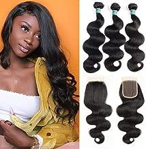 10A Brazilian Body Wave 3 Bundles With Closure Human Hair Bundles Unprocessed Brazilian Virgin Hair Body Wave Human Hair Bundles Natural Colour (8 10 12+8cloure)