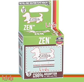 LICKS - Little Dog Zen - Calming Aid, Anti-Anxiety, and Stress ManagementÊfor Small Dogs - Chamomile, Tryptophan, L-Theanine, Eleuthero Root, and Ashwagandha Root - LiquiPaks - 10 Use