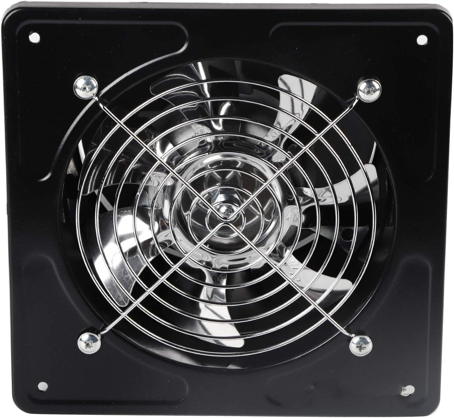 Ventilador de escape montado en la pared de 190 mm 40 W 220 V, baño, cocina, extractor de humos de aceite doméstico, tipo de ventana, humo de escape fuerte, extractor de aire industrial(Negro)