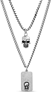 Men's Oxidized Skull Head and Dogtag Pendant Double...