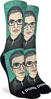 Good Luck Sock Women's Ruth Bader Ginsburg Socks - Green, Adult Shoe Size 5-9