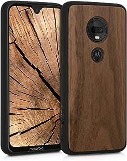 kwmobile 木製 保護ケース Motorola Moto G7 / Moto G7 Plus 用 - ハードケース TPU バンパーくるみ こげ茶色 モトローラ モト
