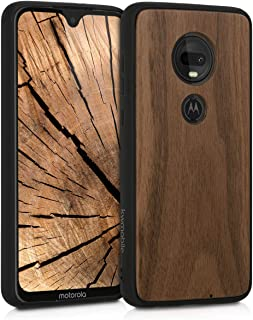 kwmobile Wooden Cover for Motorola Moto G7 / Moto G7 Plus - Hard Case with TPU Bumper - Walnut, Dark Brown