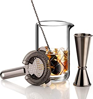 VinoBravo Crystal Cocktail Mixing Glass Bar Set/Bartender Kit : 18oz Cocktail Glass Shaker with Weighted Thick Bottom,12'' Mixing Spoon, Hawthorne Strainer & Japanese Jigger
