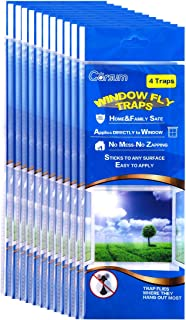 Garsum Fly Clear Window Fly Traps Bug Fly Killer Window Decal Non-Toxic,48 Pieces