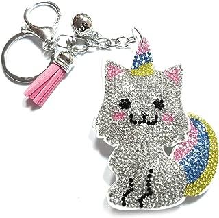 Teri's Boutique Teddy Bear Llama Puffy Cat Unicorn Caticorn Dolphin Cotton Plush Rhinestone Pendant Charm Keychains