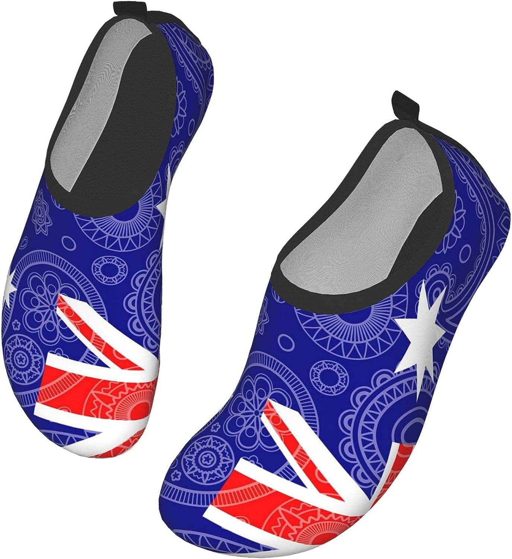 Australia Paisley Flag Water Shoes for Women Men, Barefoot Quick-Dry Aqua Socks for Water Sports Yoga Exercise