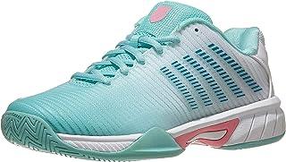 K-Swiss Junior Hypercourt Express 2 Tennis Shoe - Aruba Blue/White/Soft Neon Pink - Size 6.5