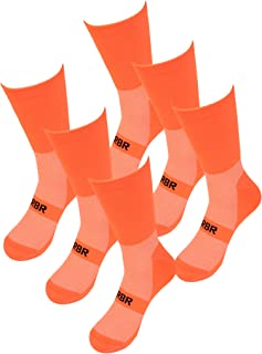 RBR Cycling Running Sports Socks Men Size 9-12 High Visibility Fluoresent 3 Pack
