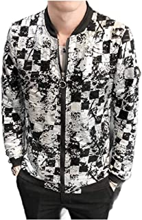 RkBaoye Mens Summer Rash Guards Evening Club Dance Zipper Long Sleeve Jacket