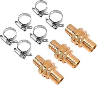 Sageme Brass Garden Hose Repair Mender Kit with Stainless Steel Clamp,3/4 Inch Female and Male Hose Connector (3 Set, Female and Male)