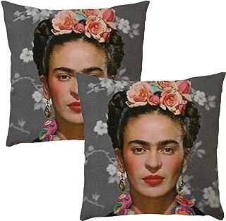 Funda de almohada de estilo retro, adecuada para Frida Kahlo, funda de almohada de lino, funda de cojín de sofá, para habitación, sala de estar, dormitorio, decoración del hogar, un juego de 2