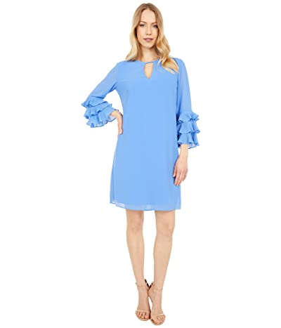 Vince Camuto Chiffon Float with Pleated Sleeve (Periwinkle) Women