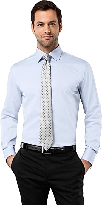 Vincenzo Boretti Camisa de Hombre, Ajustada Entallada (Slim-fit), 100% algodón, Manga-Larga, Cuello Kent, puño Reversible Lisa - no Necesita Plancha