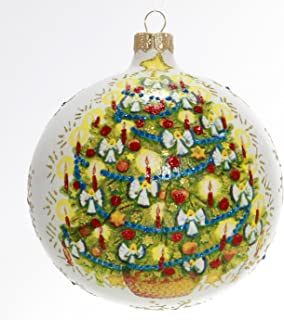Candlelit Christmas Tree Hand Painted and Mouth Blown Christmas Ornament Ball - Produced by Hand in Poland