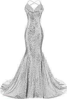 DYS Women's Sequins Mermaid Prom Dress Spaghetti Straps V...