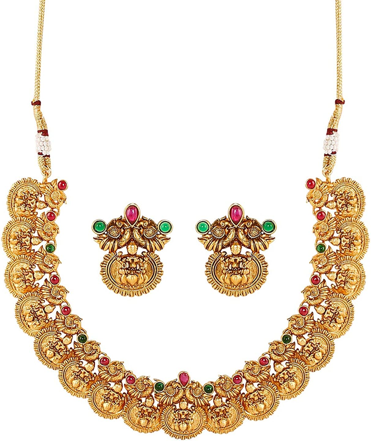 bodha Traditional Indian Handcrafted 18K Antique Gold Plated Godess Lakshmi Temple Jewellery Necklace with Matching Earring for Women (SJ_2802)
