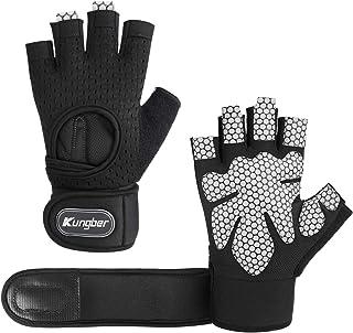 【Kungber】トレーニング グローブ フィットネス用 筋トレ ジム ウェイト運動 手袋 軽量 通気性 手首固定 リストラップ 滑り止め トレッキング 3サイズ S/M/L男女兼用