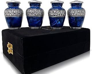 Set of 4 SmartChoice Keepsake Cremation Urns for Human Ashes - Handcrafted Funeral Memorial Mini Urns in Elegant Marbelize...