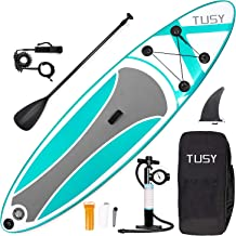TUSY Stand Up Paddle Board Inflatable SUP Blow Paddleboards 10', Accessories with Backpack, Non-Slip Deck, Adjustable Paddles, Pump for Youth Adult