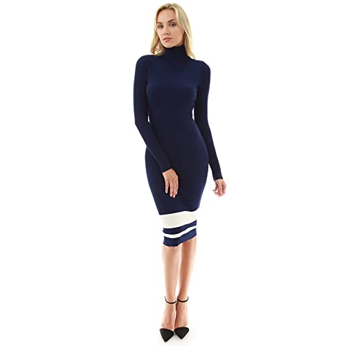 fdf74cd8e86dc PattyBoutik Women's Turtleneck Ribbed Sweater Dress