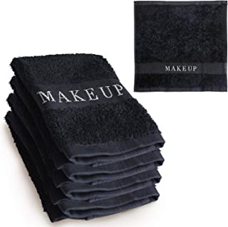 The Little Black Towel Makeup Remover Cloth (4 Pack) Plush Washcloths for Gentle Face Wash & Removing Eye Liner & Mascara, plus Foundation Eraser w/ Bleach Resistant Cotton & Soft Jacquard Lettering